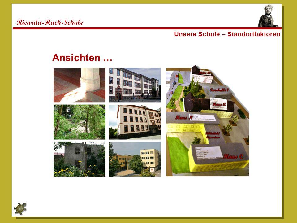 Ricarda-Huch-Schule Unsere Schule - Standortfaktoren Die RHS liegt verkehrsgünstig mitten in Gießen, zwei Gehminuten von der zentralen Busstation am Marktplatz am Ende der Fußgängerzone entfernt.