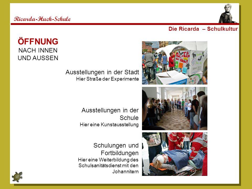 Ricarda-Huch-Schule Die Ricarda – Schulkultur ÖFFNUNG NACH INNEN UND AUSSEN Ausstellungen in der Stadt Hier Straße der Experimente Ausstellungen in de