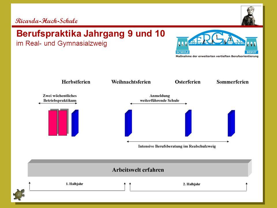Ricarda-Huch-Schule Berufspraktika Jahrgang 9 und 10 im Real- und Gymnasialzweig