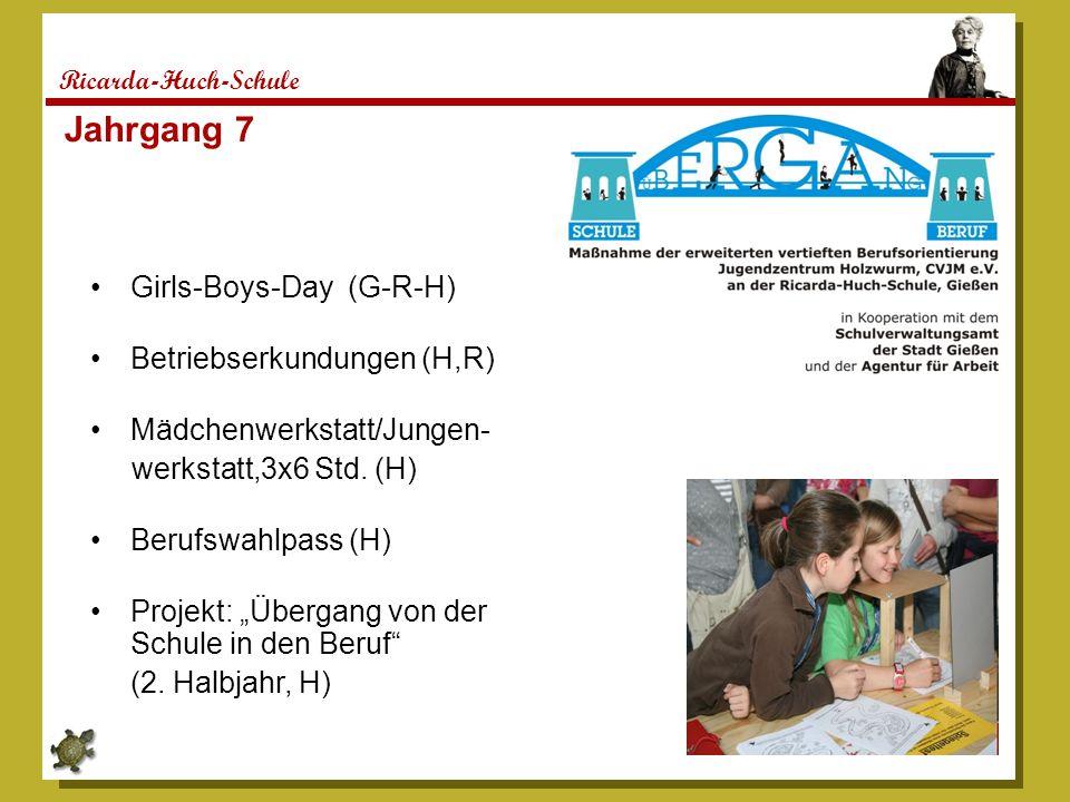 Ricarda-Huch-Schule Jahrgang 7 Girls-Boys-Day (G-R-H) Betriebserkundungen (H,R) Mädchenwerkstatt/Jungen- werkstatt,3x6 Std. (H) Berufswahlpass (H) Pro