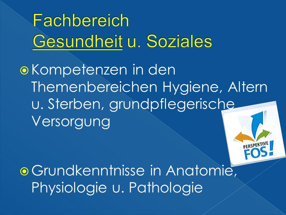 Kompetenzen in den Themenbereichen Hygiene, Altern u. Sterben, grundpflegerische Versorgung Grundkenntnisse in Anatomie, Physiologie u. Pathologie