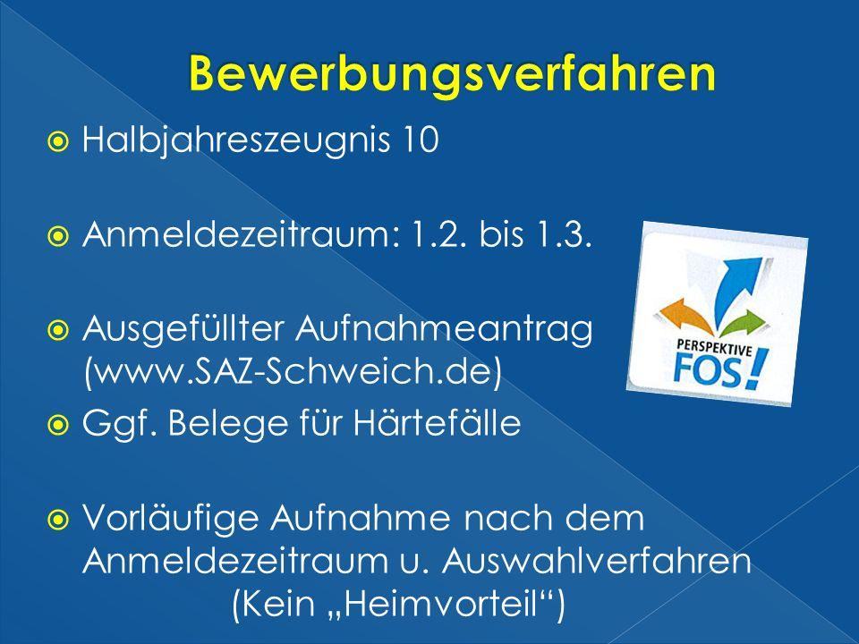 Halbjahreszeugnis 10 Anmeldezeitraum: 1.2. bis 1.3. Ausgefüllter Aufnahmeantrag (www.SAZ-Schweich.de) Ggf. Belege für Härtefälle Vorläufige Aufnahme n
