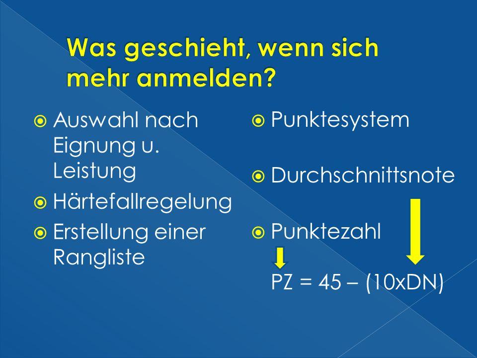 Auswahl nach Eignung u. Leistung Härtefallregelung Erstellung einer Rangliste Punktesystem Durchschnittsnote Punktezahl PZ = 45 – (10xDN)