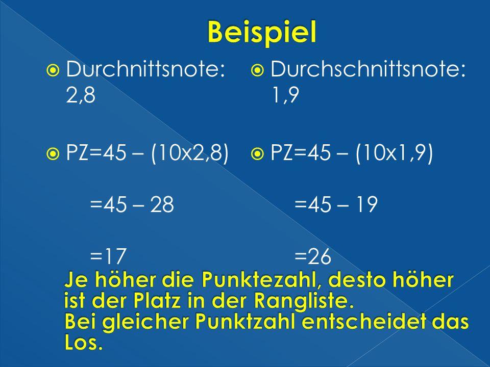 Durchnittsnote: 2,8 PZ=45 – (10x2,8) =45 – 28 =17 Durchschnittsnote: 1,9 PZ=45 – (10x1,9) =45 – 19 =26