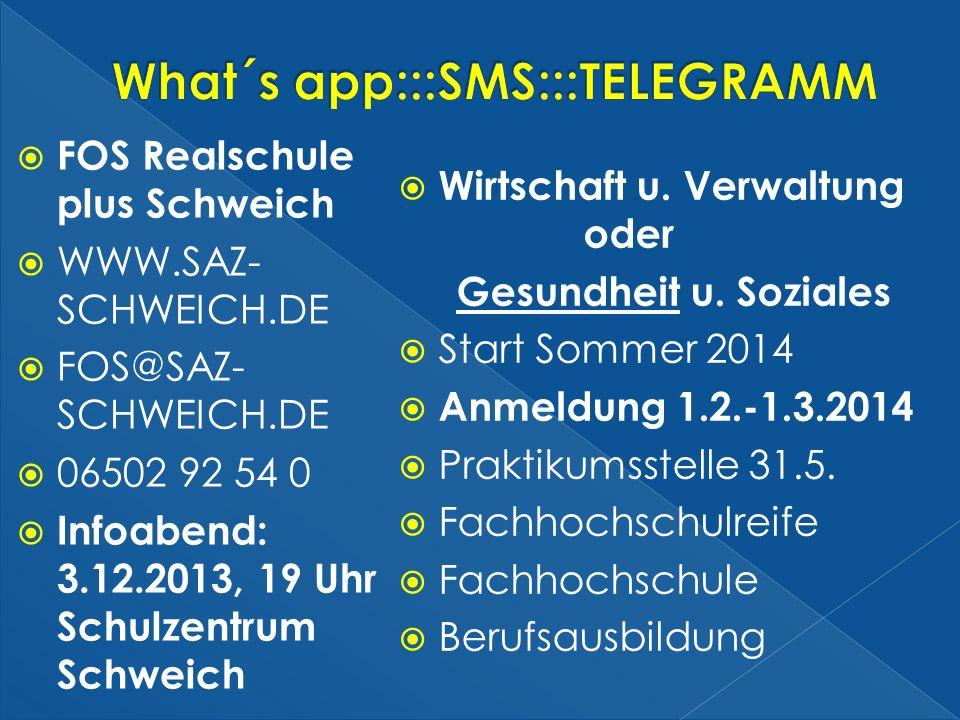 FOS Realschule plus Schweich WWW.SAZ- SCHWEICH.DE FOS@SAZ- SCHWEICH.DE 06502 92 54 0 Infoabend: 3.12.2013, 19 Uhr Schulzentrum Schweich Wirtschaft u.