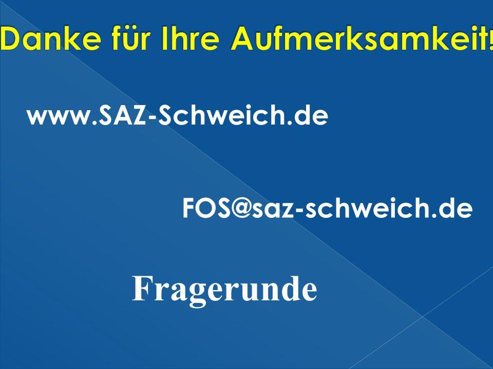www.SAZ-Schweich.de FOS@saz-schweich.de Fragerunde