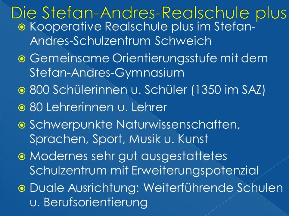 Kooperative Realschule plus im Stefan- Andres-Schulzentrum Schweich Gemeinsame Orientierungsstufe mit dem Stefan-Andres-Gymnasium 800 Schülerinnen u.