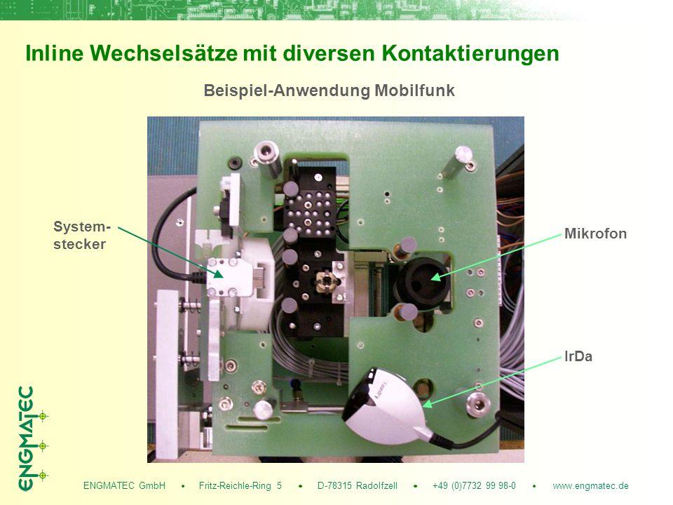 ENGMATEC GmbH Fritz-Reichle-Ring 5 D-78315 Radolfzell +49 (0)7732 99 98-0 www.engmatec.de Inline Wechselsätze mit diversen Kontaktierungen Mikrofon System- stecker Beispiel-Anwendung Mobilfunk IrDa