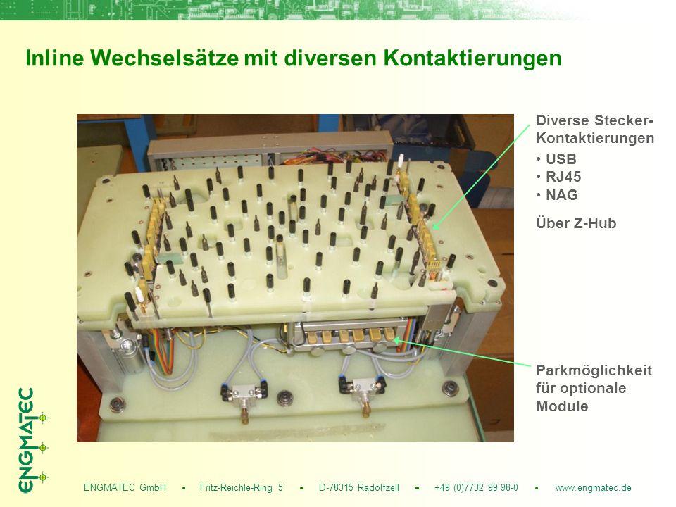 ENGMATEC GmbH Fritz-Reichle-Ring 5 D-78315 Radolfzell +49 (0)7732 99 98-0 www.engmatec.de Inline Wechselsätze mit diversen Kontaktierungen Diverse Stecker- Kontaktierungen Parkmöglichkeit für optionale Module USB RJ45 NAG Über Z-Hub