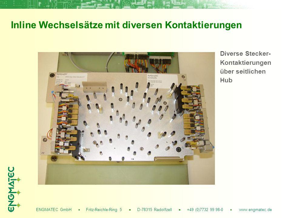 ENGMATEC GmbH Fritz-Reichle-Ring 5 D-78315 Radolfzell +49 (0)7732 99 98-0 www.engmatec.de Inline Wechselsätze mit diversen Kontaktierungen Diverse Stecker- Kontaktierungen über seitlichen Hub