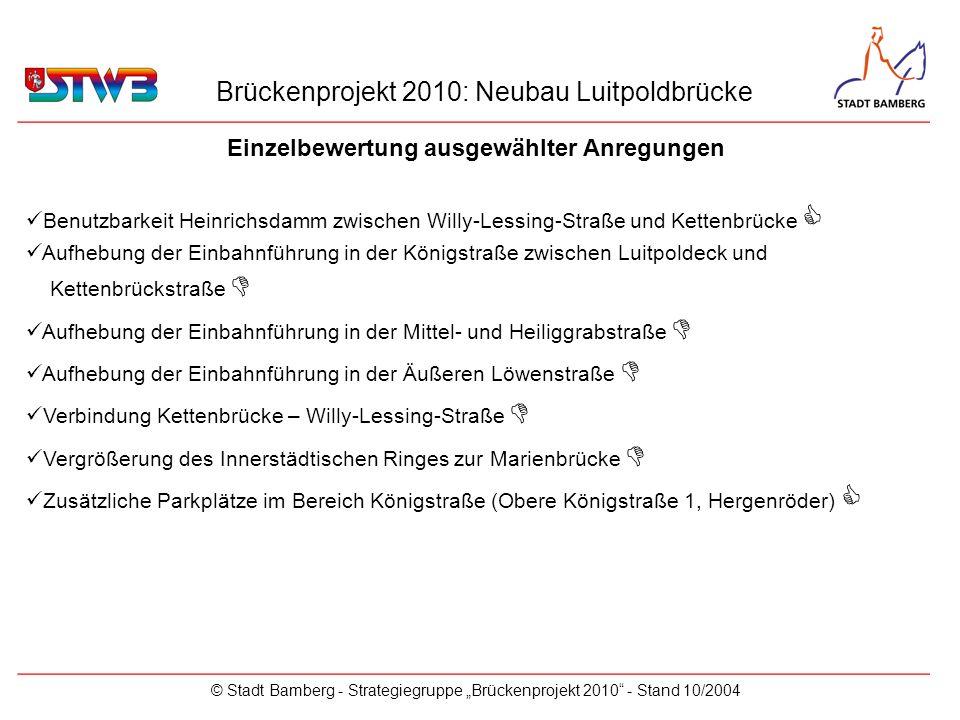 Brückenprojekt 2010: Neubau Luitpoldbrücke © Stadt Bamberg - Strategiegruppe Brückenprojekt 2010 - Stand 10/2004 Einzelbewertung ausgewählter Anregung