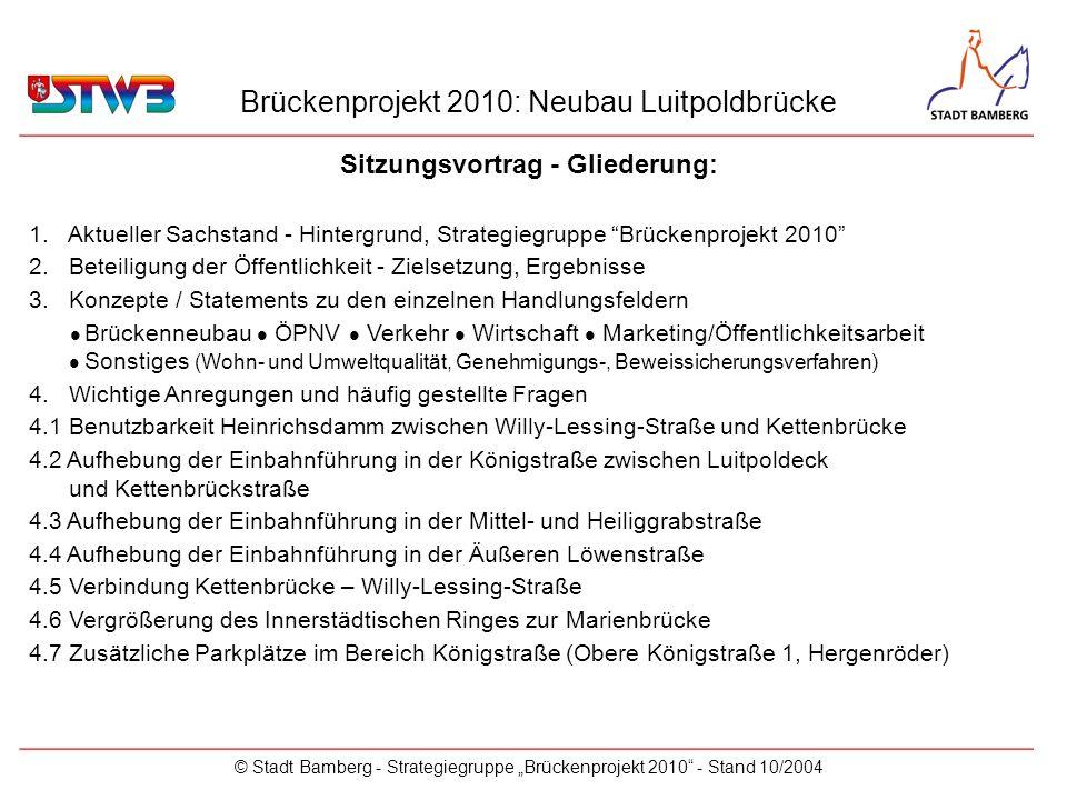 Brückenprojekt 2010: Neubau Luitpoldbrücke © Stadt Bamberg - Strategiegruppe Brückenprojekt 2010 - Stand 10/2004 Beteiligung der Öffentlichkeit _________________________________________________________ 3-stufiges Dialog- und Beteiligungsverfahren mit Interessensvertretungen als Multiplikatoren (Stadtmarketingverein Bamberg e.V., BV V.