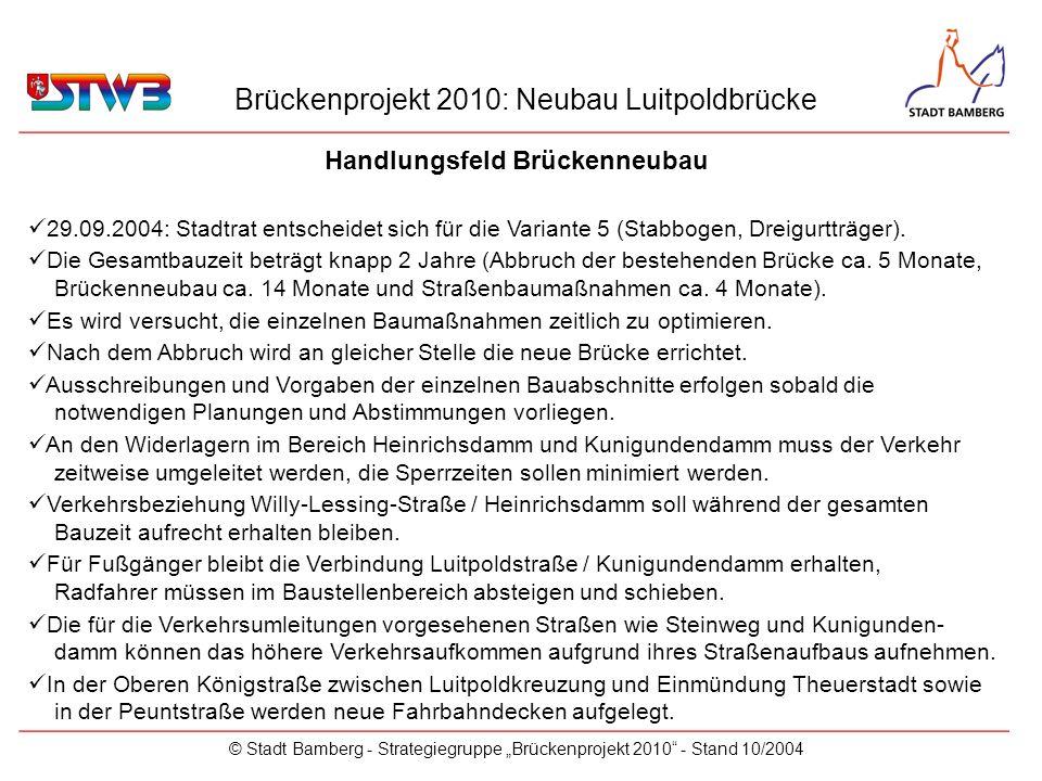 Brückenprojekt 2010: Neubau Luitpoldbrücke © Stadt Bamberg - Strategiegruppe Brückenprojekt 2010 - Stand 10/2004 Handlungsfeld Brückenneubau _________________________________________________________ 29.09.2004: Stadtrat entscheidet sich für die Variante 5 (Stabbogen, Dreigurtträger).