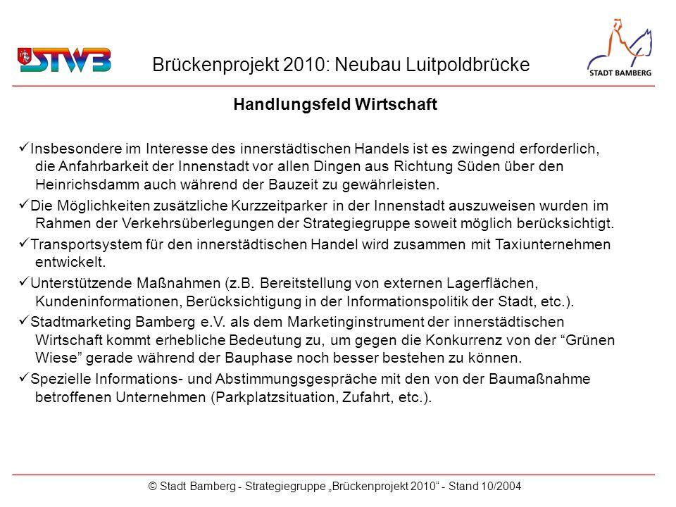 Brückenprojekt 2010: Neubau Luitpoldbrücke © Stadt Bamberg - Strategiegruppe Brückenprojekt 2010 - Stand 10/2004 Handlungsfeld Wirtschaft _________________________________________________________ Insbesondere im Interesse des innerstädtischen Handels ist es zwingend erforderlich, die Anfahrbarkeit der Innenstadt vor allen Dingen aus Richtung Süden über den Heinrichsdamm auch während der Bauzeit zu gewährleisten.