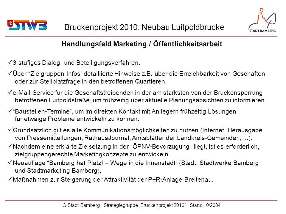 Brückenprojekt 2010: Neubau Luitpoldbrücke © Stadt Bamberg - Strategiegruppe Brückenprojekt 2010 - Stand 10/2004 Handlungsfeld Marketing / Öffentlichkeitsarbeit _________________________________________________________ 3-stufiges Dialog- und Beteiligungsverfahren.