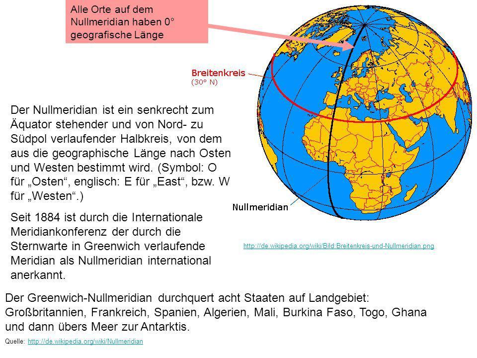 http://de.wikipedia.org/wiki/Bild:Breitenkreis-und-Nullmeridian.png Der Nullmeridian ist ein senkrecht zum Äquator stehender und von Nord- zu Südpol v