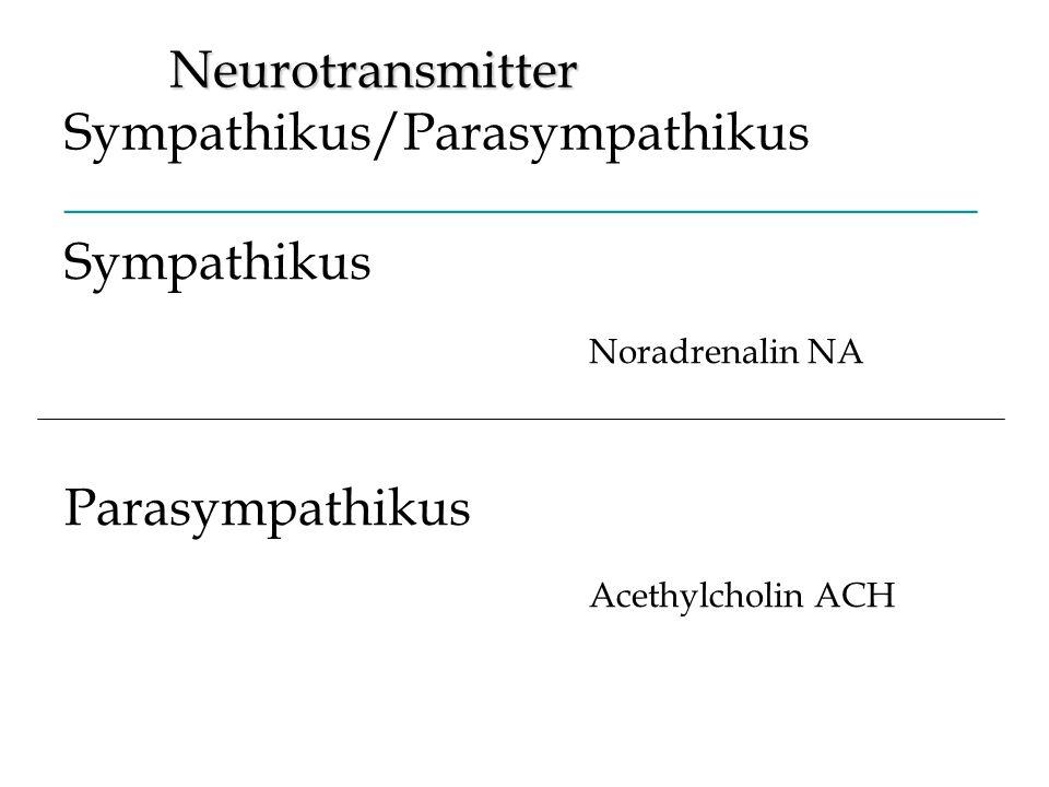 Neurotransmitter Neurotransmitter Sympathikus/Parasympathikus _______________________________________ Sympathikus Noradrenalin NA Parasympathikus Acet