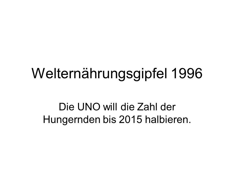 Welternährungsgipfel 1996 Die UNO will die Zahl der Hungernden bis 2015 halbieren.