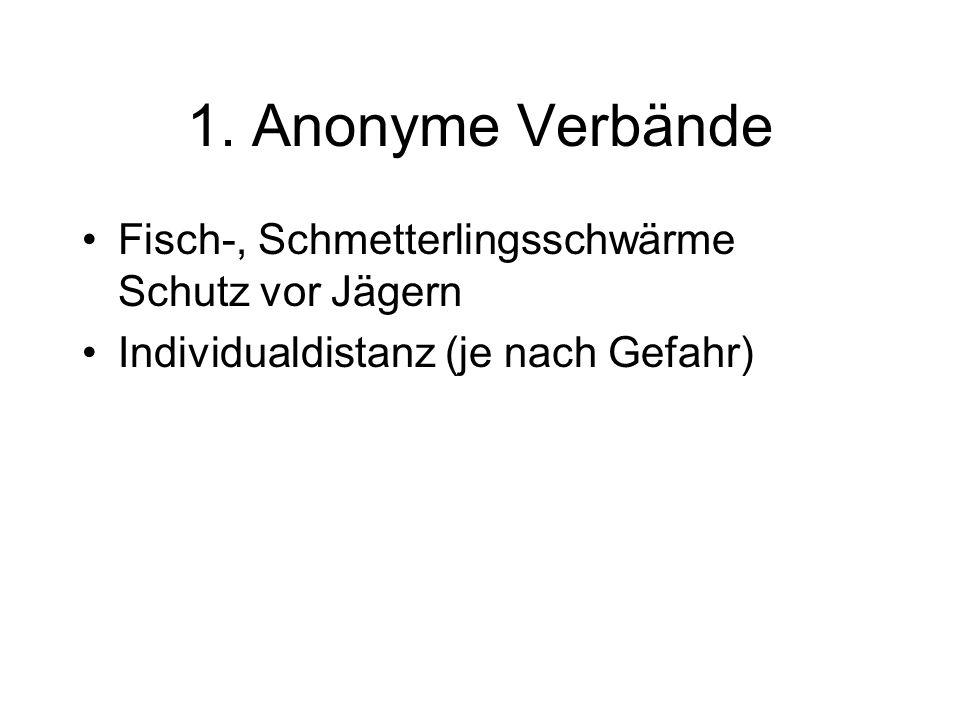 1. Anonyme Verbände Fisch-, Schmetterlingsschwärme Schutz vor Jägern Individualdistanz (je nach Gefahr)