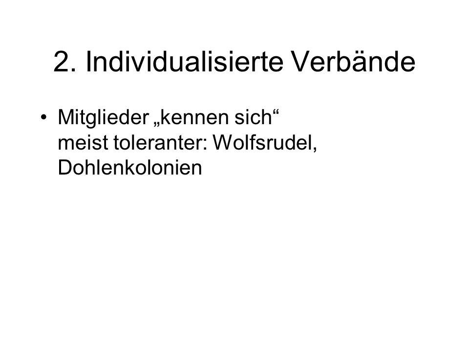 2. Individualisierte Verbände Mitglieder kennen sich meist toleranter: Wolfsrudel, Dohlenkolonien