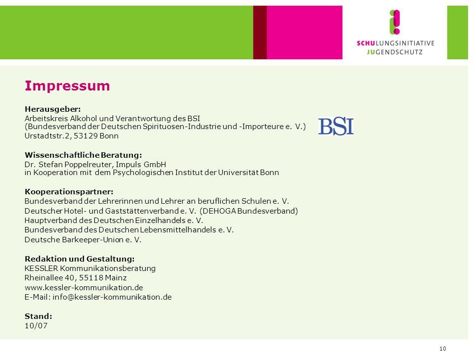 10 Impressum Herausgeber: Arbeitskreis Alkohol und Verantwortung des BSI (Bundesverband der Deutschen Spirituosen-Industrie und -Importeure e. V.) Urs