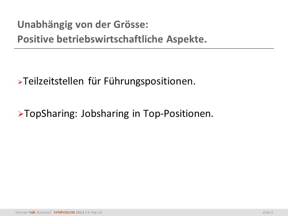 slide 5Women Talk Business ® SYMPOSIUM 2013 / 6-Mai-13 Unabhängig von der Grösse: Positive betriebswirtschaftliche Aspekte. Teilzeitstellen für Führun