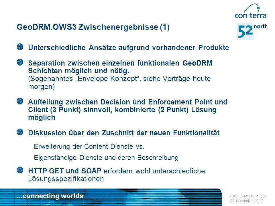 ...connecting worlds WKS Security in GDI 03. November 2005 GeoDRM.OWS3 Zwischenergebnisse (1) Unterschiedliche Ansätze aufgrund vorhandener Produkte S