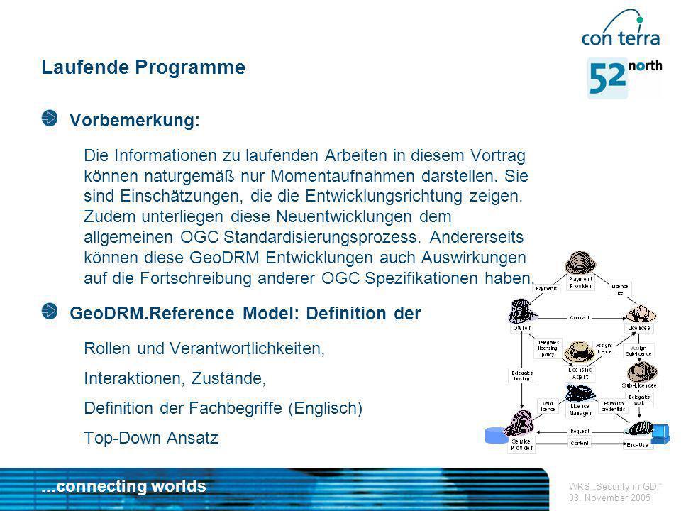 ...connecting worlds WKS Security in GDI 03. November 2005 Laufende Programme Vorbemerkung: Die Informationen zu laufenden Arbeiten in diesem Vortrag