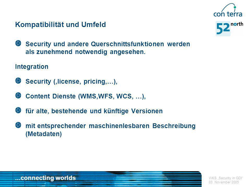 ...connecting worlds WKS Security in GDI 03. November 2005 Kompatibilität und Umfeld Security und andere Querschnittsfunktionen werden als zunehmend n