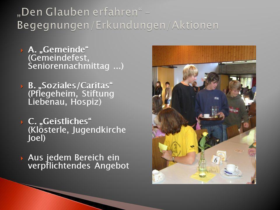 A. Gemeinde A. Gemeinde (Gemeindefest, Seniorennachmittag...) B. Soziales/Caritas B. Soziales/Caritas (Pflegeheim, Stiftung Liebenau, Hospiz) C. Geist