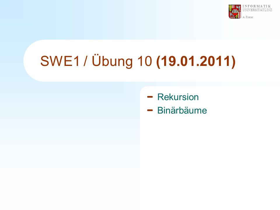 A. Riener I N F O R M A T I K UNIVERSITÄT LINZ SWE1 / Übung 10 (19.01.2011) Rekursion Binärbäume