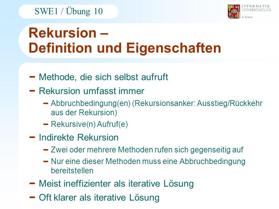 A. Riener I N F O R M A T I K UNIVERSITÄT LINZ SWE1 / Übung 10 Rekursion – Definition und Eigenschaften Methode, die sich selbst aufruft Rekursion umf