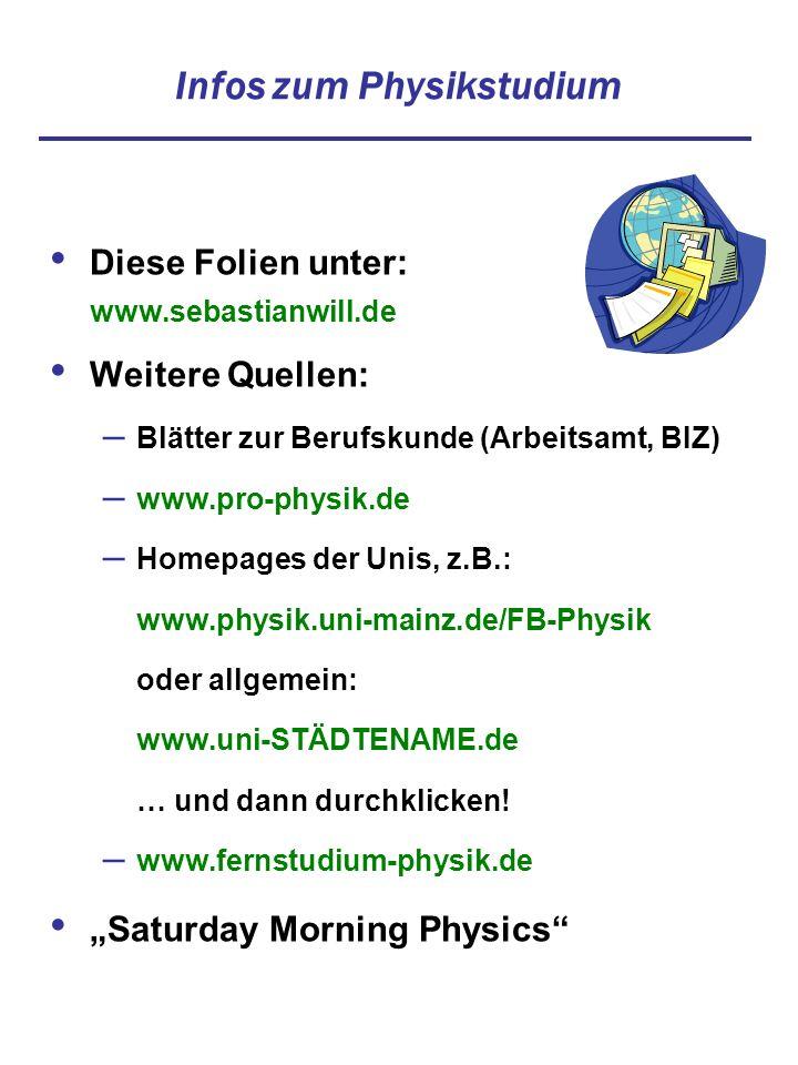 Diese Folien unter: www.sebastianwill.de Weitere Quellen: – Blätter zur Berufskunde (Arbeitsamt, BIZ) – www.pro-physik.de – Homepages der Unis, z.B.:
