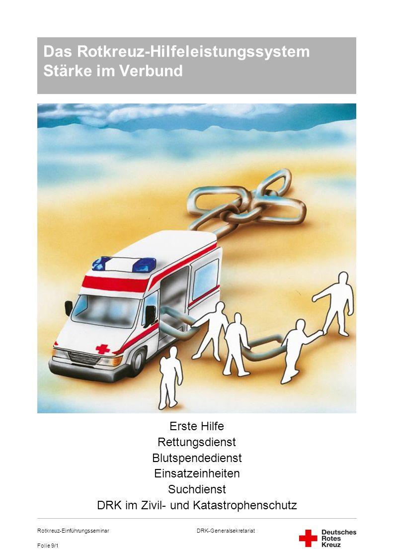 DRK-Generalsekretariat Folie 9/1 Rotkreuz-Einführungsseminar Das Rotkreuz-Hilfeleistungssystem Stärke im Verbund Erste Hilfe Rettungsdienst Blutspende