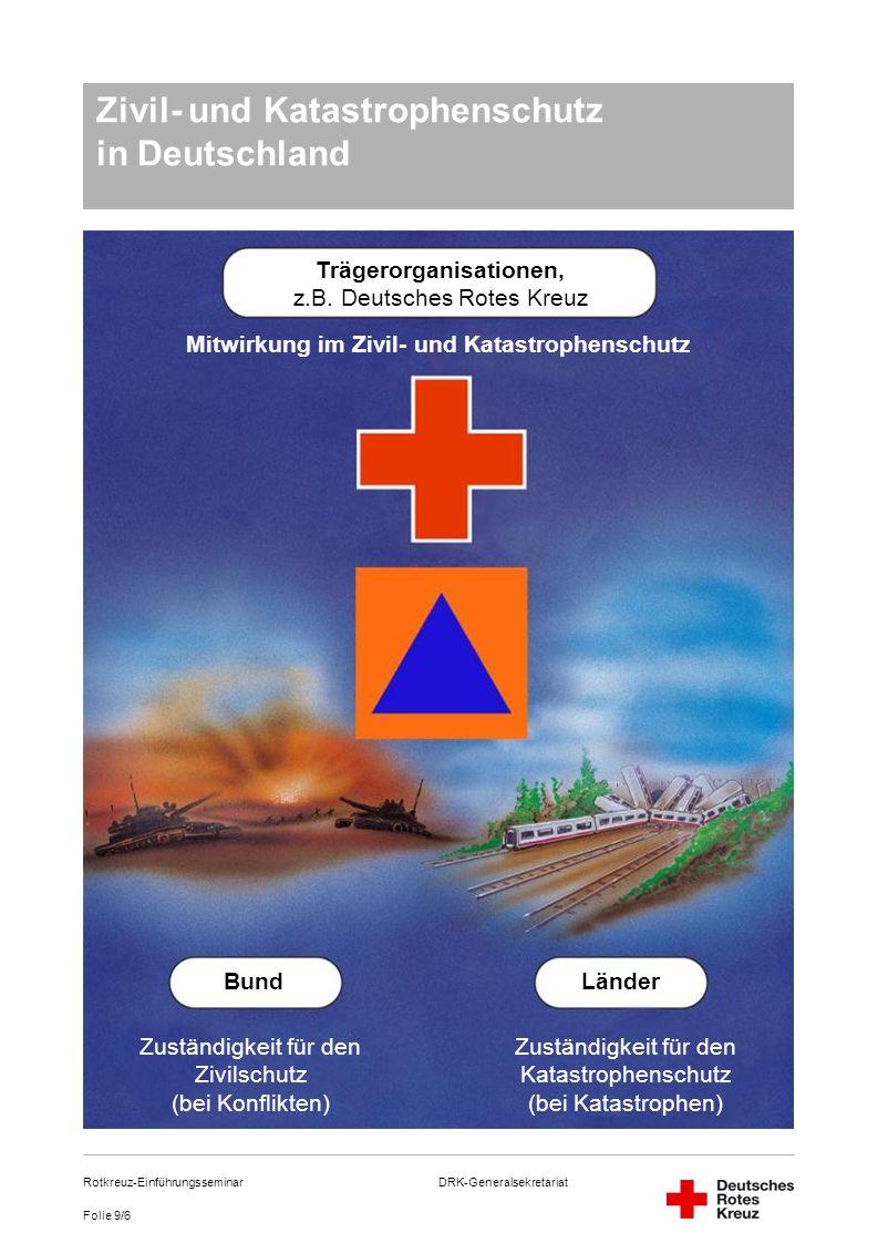 DRK-Generalsekretariat Folie 9/6 Rotkreuz-Einführungsseminar Zivil- und Katastrophenschutz in Deutschland Trägerorganisationen, z.B. Deutsches Rotes K
