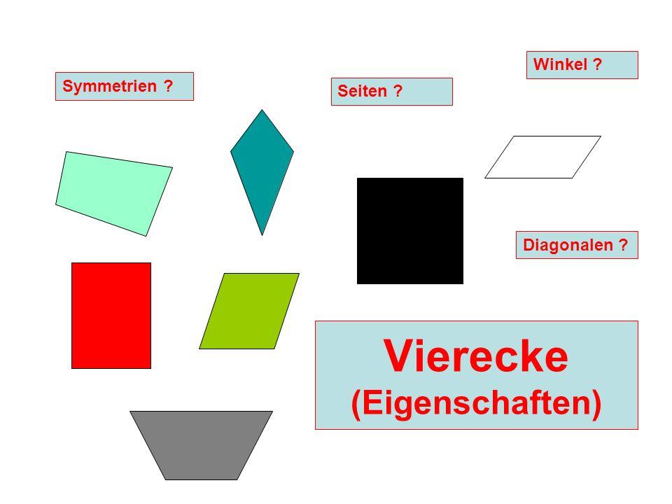 Vierecke (Eigenschaften) Diagonalen ? Seiten ? Symmetrien ? Winkel ?