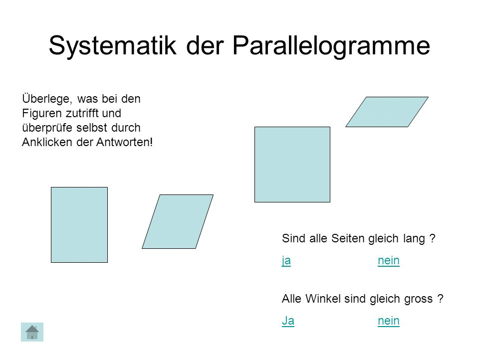 Systematik der Parallelogramme Überlege, was bei den Figuren zutrifft und überprüfe selbst durch Anklicken der Antworten! Sind alle Seiten gleich lang
