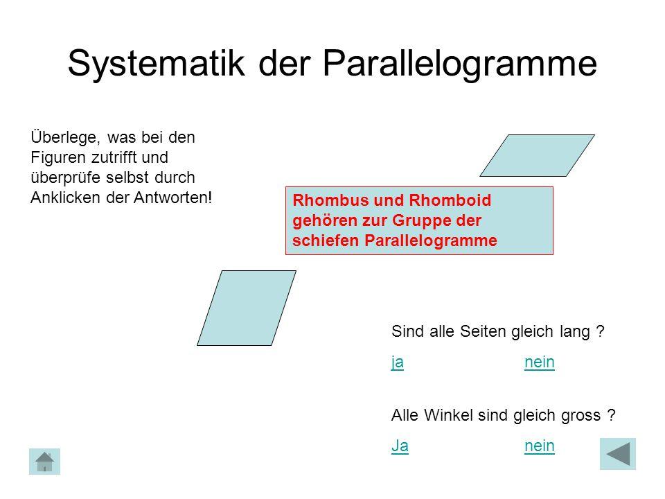 Systematik der Parallelogramme Überlege, was bei den Figuren zutrifft und überprüfe selbst durch Anklicken der Antworten! Rhombus und Rhomboid gehören