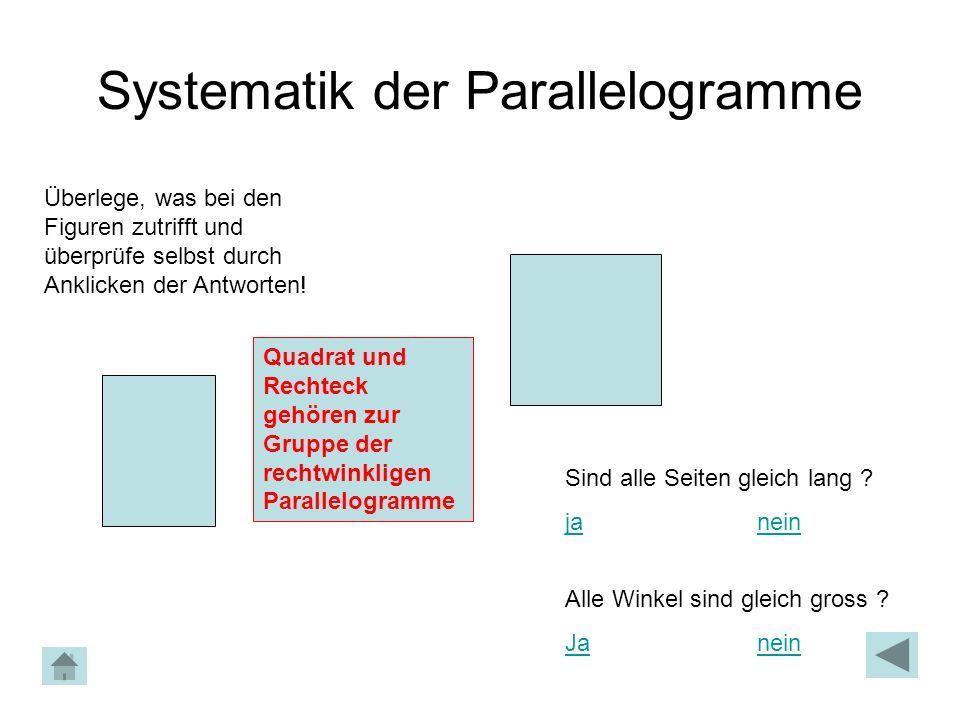 Systematik der Parallelogramme Überlege, was bei den Figuren zutrifft und überprüfe selbst durch Anklicken der Antworten! Quadrat und Rechteck gehören