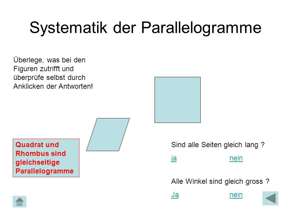 Systematik der Parallelogramme Überlege, was bei den Figuren zutrifft und überprüfe selbst durch Anklicken der Antworten! Quadrat und Rhombus sind gle