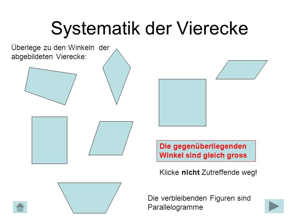 Systematik der Vierecke Die gegenüberliegenden Winkel sind gleich gross Überlege zu den Winkeln der abgebildeten Vierecke: Klicke nicht Zutreffende weg.
