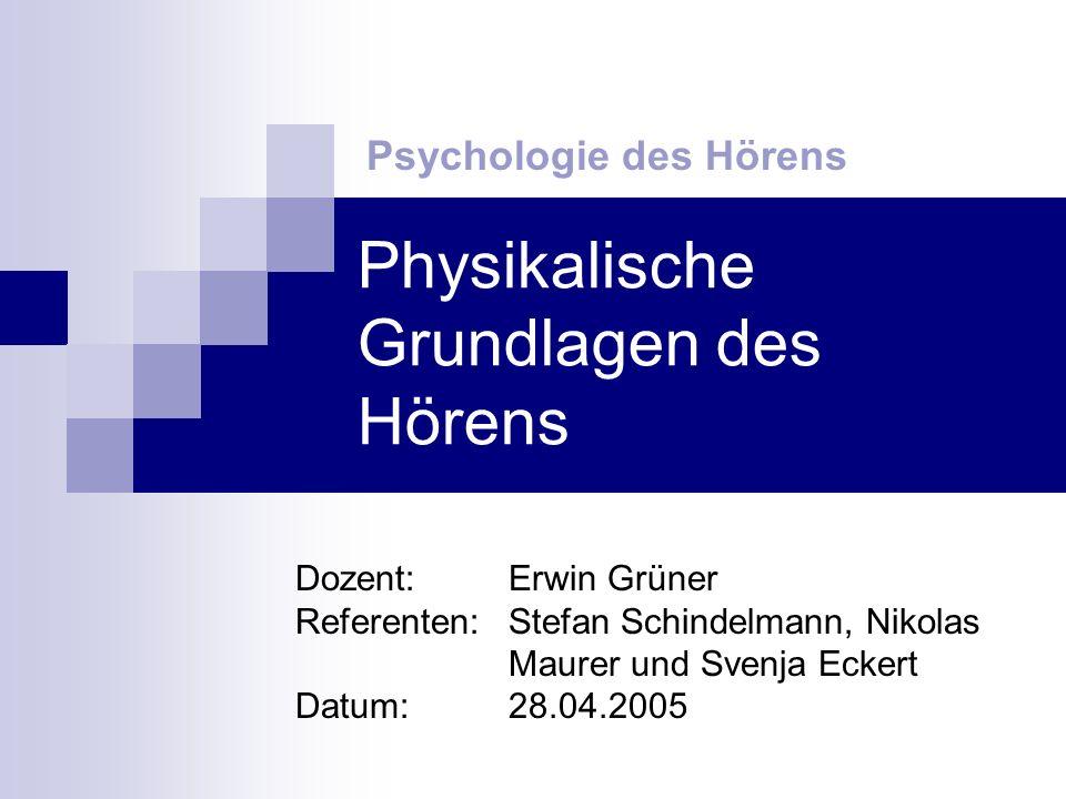 Physikalische Grundlagen des Hörens Psychologie des Hörens Dozent: Erwin Grüner Referenten: Stefan Schindelmann, Nikolas Maurer und Svenja Eckert Datum: 28.04.2005