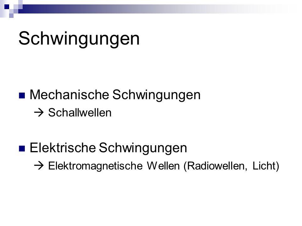 Schwingungen Mechanische Schwingungen Schallwellen Elektrische Schwingungen Elektromagnetische Wellen (Radiowellen, Licht)