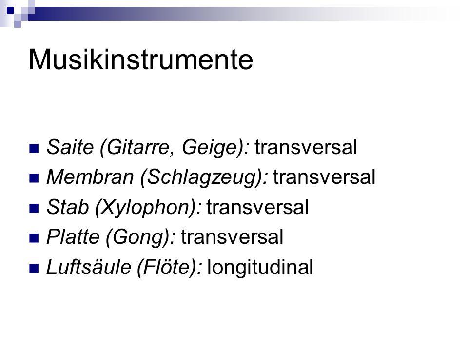 Musikinstrumente Saite (Gitarre, Geige): transversal Membran (Schlagzeug): transversal Stab (Xylophon): transversal Platte (Gong): transversal Luftsäule (Flöte): longitudinal