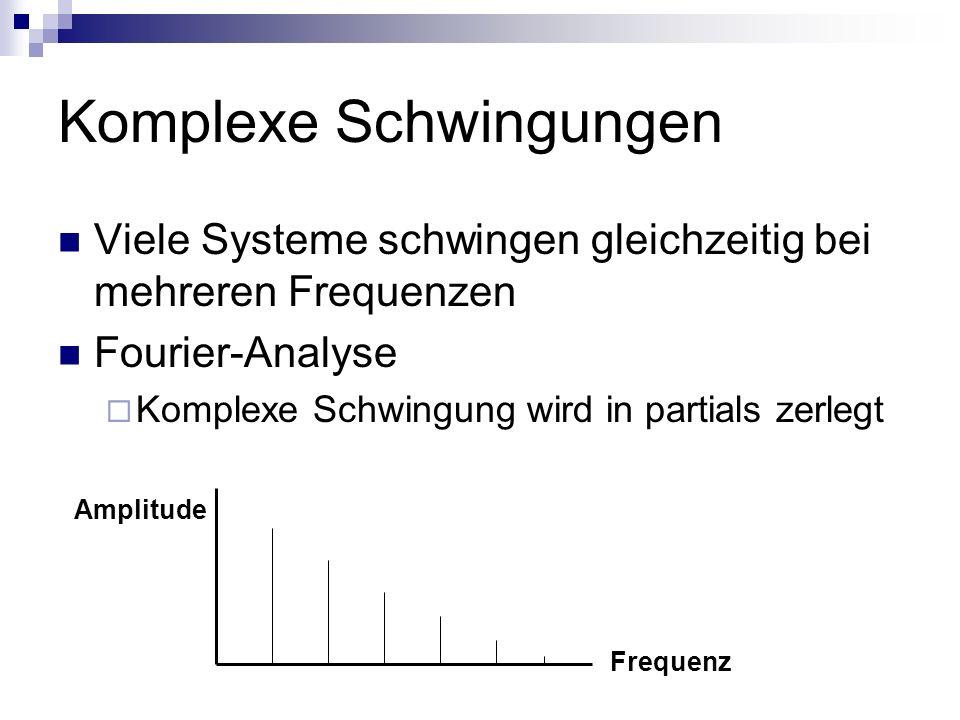 Komplexe Schwingungen Viele Systeme schwingen gleichzeitig bei mehreren Frequenzen Fourier-Analyse Komplexe Schwingung wird in partials zerlegt Frequenz Amplitude