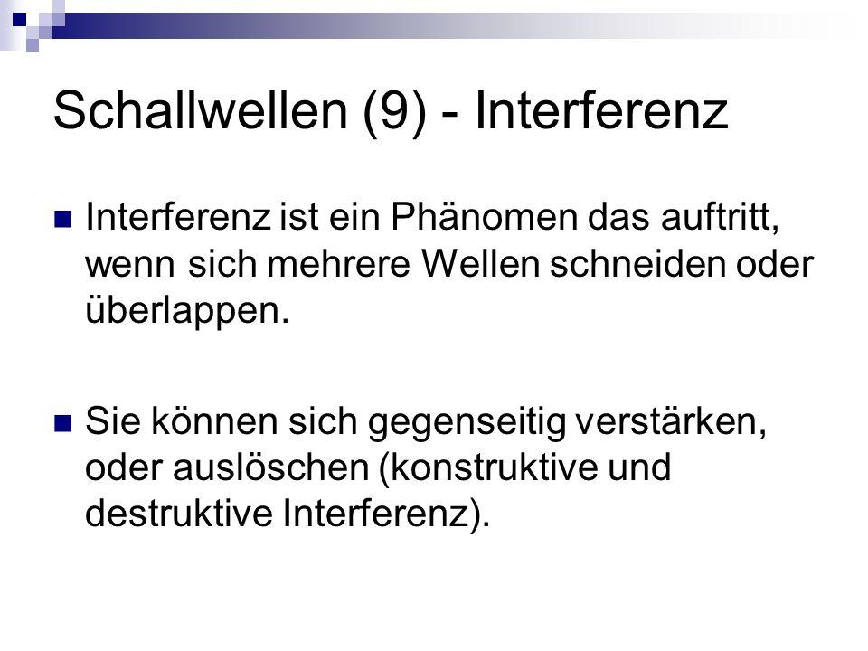 Schallwellen (9) - Interferenz Interferenz ist ein Phänomen das auftritt, wenn sich mehrere Wellen schneiden oder überlappen.