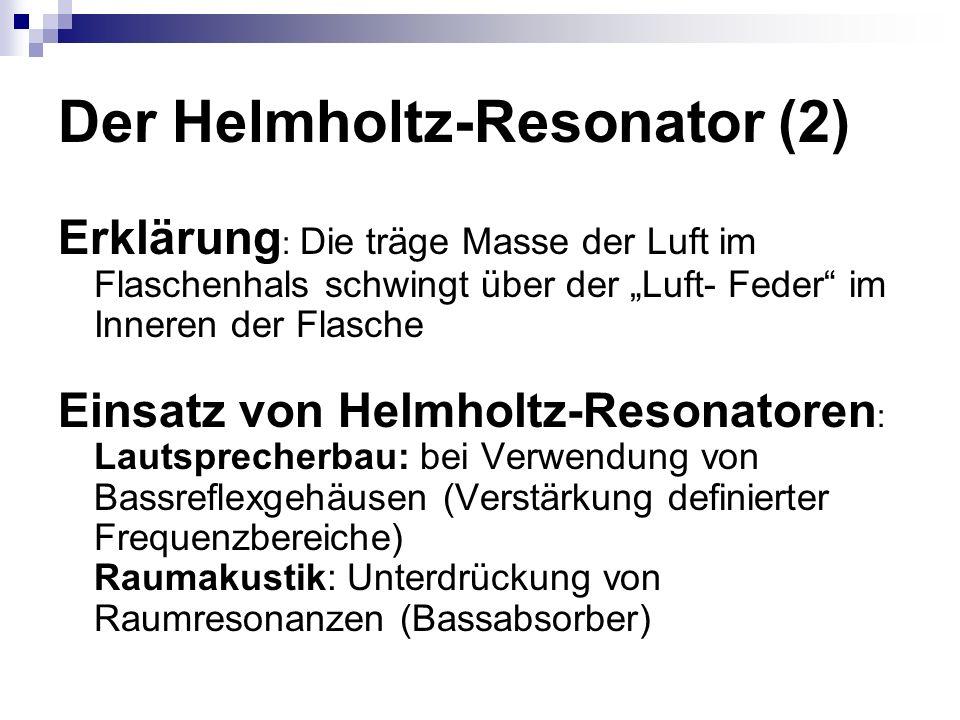 Der Helmholtz-Resonator (2) Erklärung : Die träge Masse der Luft im Flaschenhals schwingt über der Luft- Feder im Inneren der Flasche Einsatz von Helmholtz-Resonatoren : Lautsprecherbau: bei Verwendung von Bassreflexgehäusen (Verstärkung definierter Frequenzbereiche) Raumakustik: Unterdrückung von Raumresonanzen (Bassabsorber)