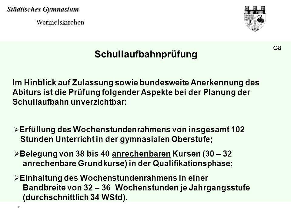 Städtisches Gymnasium Wermelskirchen Wermelskirchen 11 Im Hinblick auf Zulassung sowie bundesweite Anerkennung des Abiturs ist die Prüfung folgender A