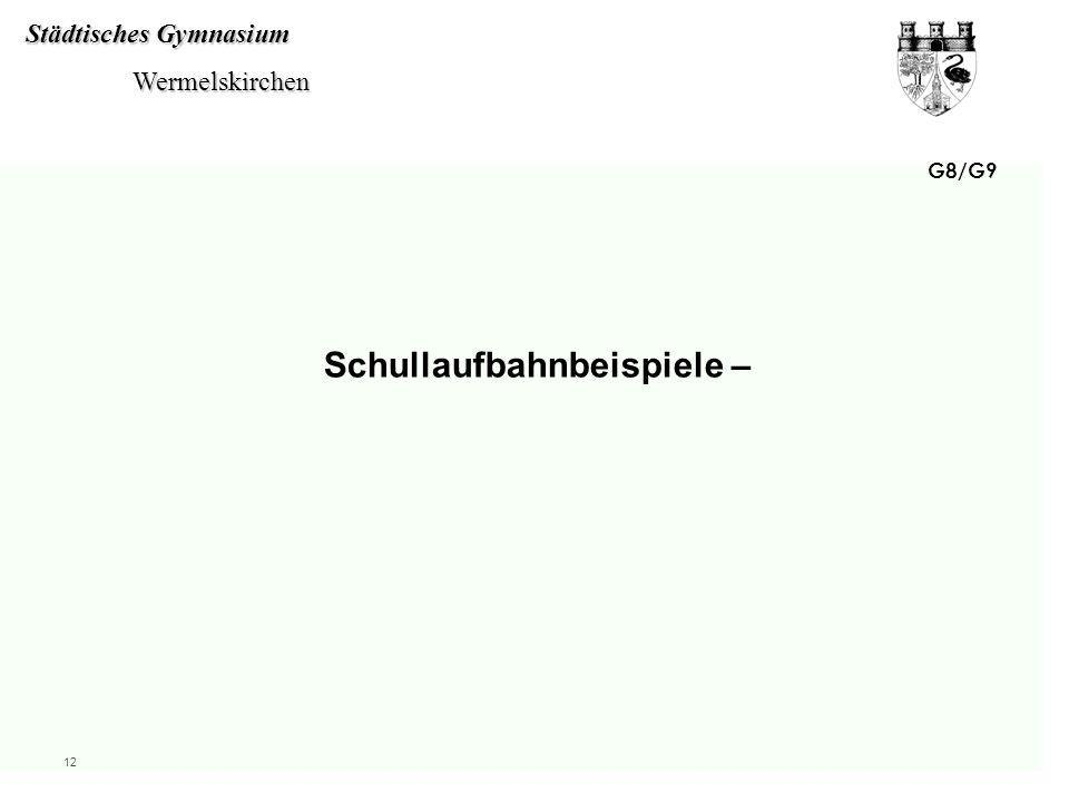 Städtisches Gymnasium Wermelskirchen Wermelskirchen 12 G8/G9 Schullaufbahnbeispiele –