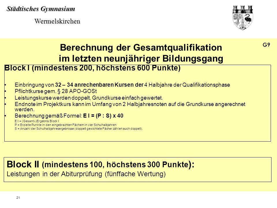 Städtisches Gymnasium Wermelskirchen Wermelskirchen 21 Berechnung der Gesamtqualifikation im letzten neunjähriger Bildungsgang Block I (mindestens 200
